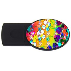 Abstract Flowers Design USB Flash Drive Oval (2 GB)