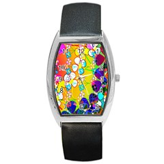 Abstract Flowers Design Barrel Style Metal Watch