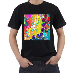 Abstract Flowers Design Men s T-Shirt (Black) (Two Sided)