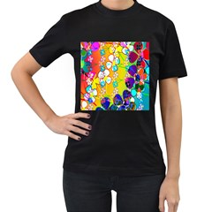 Abstract Flowers Design Women s T Shirt (black) (two Sided)