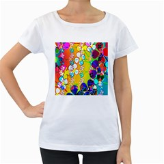 Abstract Flowers Design Women s Loose-Fit T-Shirt (White)