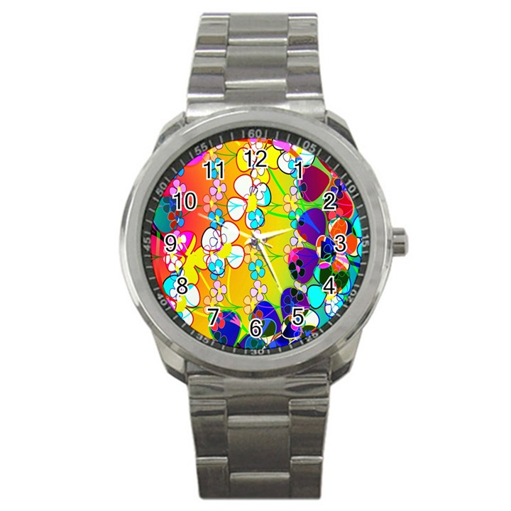 Abstract Flowers Design Sport Metal Watch