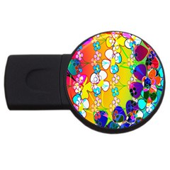 Abstract Flowers Design USB Flash Drive Round (4 GB)
