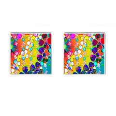 Abstract Flowers Design Cufflinks (square)