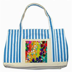 Abstract Flowers Design Striped Blue Tote Bag