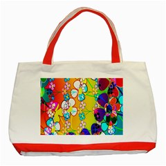 Abstract Flowers Design Classic Tote Bag (red)
