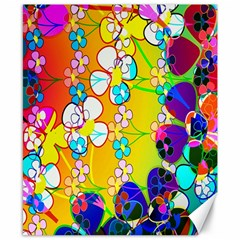 Abstract Flowers Design Canvas 8  x 10
