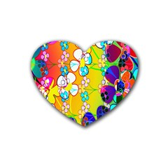 Abstract Flowers Design Rubber Coaster (heart)