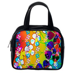 Abstract Flowers Design Classic Handbags (one Side)
