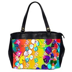 Abstract Flowers Design Office Handbags (2 Sides)