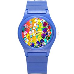 Abstract Flowers Design Round Plastic Sport Watch (S)