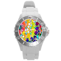 Abstract Flowers Design Round Plastic Sport Watch (l)
