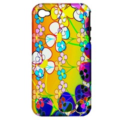 Abstract Flowers Design Apple Iphone 4/4s Hardshell Case (pc+silicone)