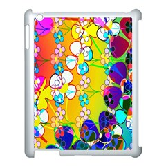Abstract Flowers Design Apple iPad 3/4 Case (White)
