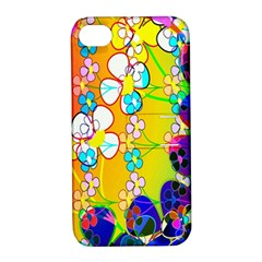 Abstract Flowers Design Apple iPhone 4/4S Hardshell Case with Stand
