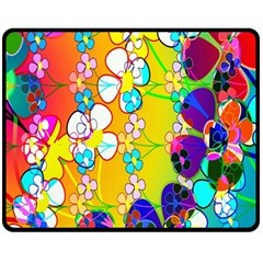 Abstract Flowers Design Double Sided Fleece Blanket (Medium)