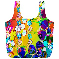 Abstract Flowers Design Full Print Recycle Bags (L)
