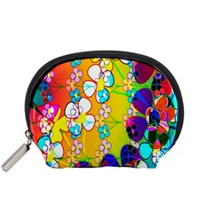 Abstract Flowers Design Accessory Pouches (Small)