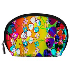 Abstract Flowers Design Accessory Pouches (Large)