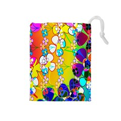 Abstract Flowers Design Drawstring Pouches (medium)