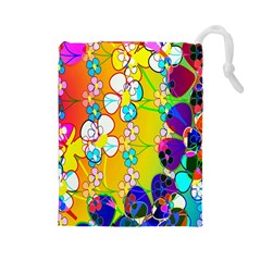 Abstract Flowers Design Drawstring Pouches (Large)