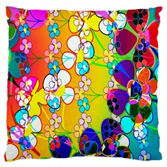 Abstract Flowers Design Large Flano Cushion Case (Two Sides)