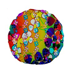 Abstract Flowers Design Standard 15  Premium Flano Round Cushions