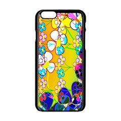 Abstract Flowers Design Apple iPhone 6/6S Black Enamel Case