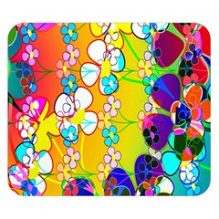 Abstract Flowers Design Double Sided Flano Blanket (Small)