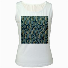 Gradient Flowers Abstract Background Women s White Tank Top