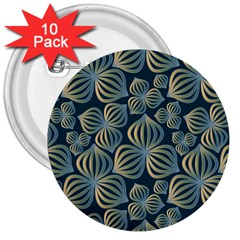 Gradient Flowers Abstract Background 3  Buttons (10 pack)