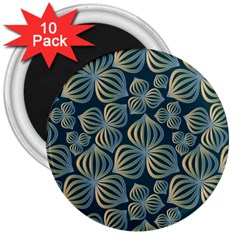Gradient Flowers Abstract Background 3  Magnets (10 Pack)