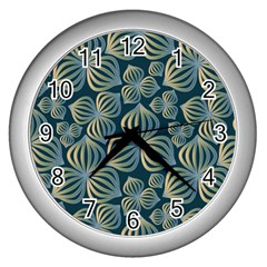 Gradient Flowers Abstract Background Wall Clocks (silver)