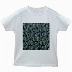 Gradient Flowers Abstract Background Kids White T Shirts