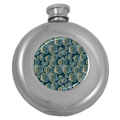 Gradient Flowers Abstract Background Round Hip Flask (5 oz)