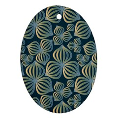 Gradient Flowers Abstract Background Oval Ornament (Two Sides)