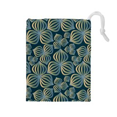 Gradient Flowers Abstract Background Drawstring Pouches (Large)