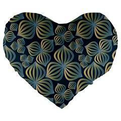 Gradient Flowers Abstract Background Large 19  Premium Flano Heart Shape Cushions