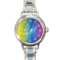 Colorful Guilloche Spiral Pattern Background Round Italian Charm Watch