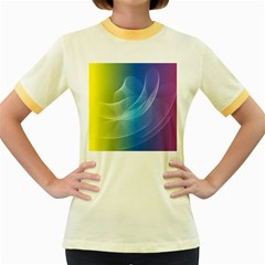 Colorful Guilloche Spiral Pattern Background Women s Fitted Ringer T-Shirts