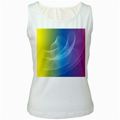 Colorful Guilloche Spiral Pattern Background Women s White Tank Top