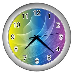 Colorful Guilloche Spiral Pattern Background Wall Clocks (silver)