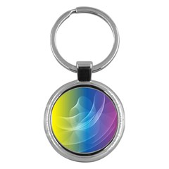 Colorful Guilloche Spiral Pattern Background Key Chains (Round)