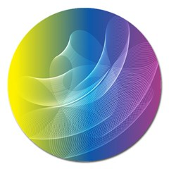 Colorful Guilloche Spiral Pattern Background Magnet 5  (Round)