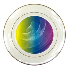 Colorful Guilloche Spiral Pattern Background Porcelain Plates
