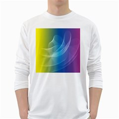 Colorful Guilloche Spiral Pattern Background White Long Sleeve T Shirts