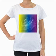 Colorful Guilloche Spiral Pattern Background Women s Loose-Fit T-Shirt (White)