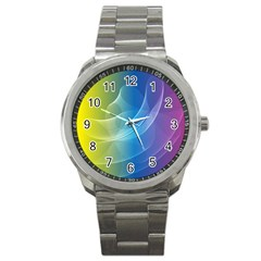 Colorful Guilloche Spiral Pattern Background Sport Metal Watch