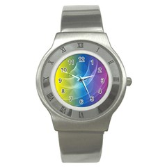 Colorful Guilloche Spiral Pattern Background Stainless Steel Watch