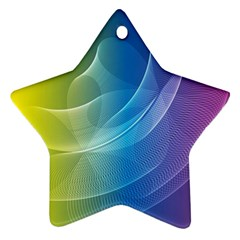 Colorful Guilloche Spiral Pattern Background Star Ornament (two Sides)